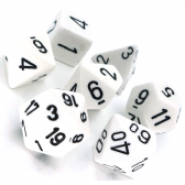 White & Black Opaque Polyhedral 7 Dice Set